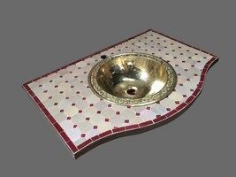Zellige marocain salle de bain for Meuble salle de bain fer forge