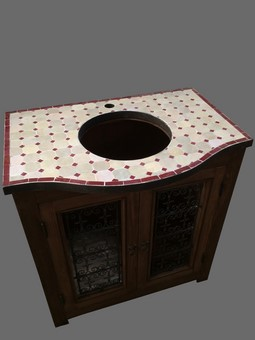 Meuble de salle de bain en bois, fer forgé et zelliges, modèle Hammam, pour  vasque ronde à encastrer