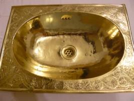 Vasque En Cuivre vasque cuivre doré encastrée: vasque ovale en cuivre jaune, plage