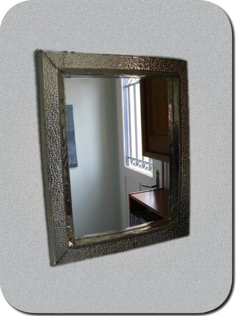 Accessoires maillechort argent s miroir mural finition for Miroir 50 40