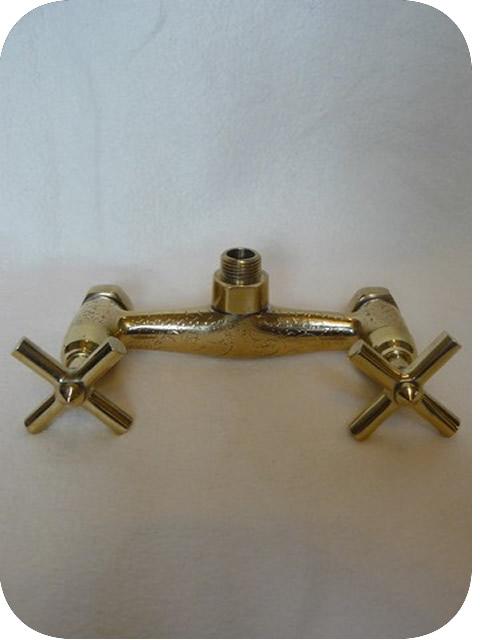 robinets cuivre doré (laiton): robinet mélangeur mural de douche