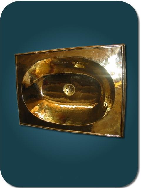 vasque cuivre dor encastr e vasque ovale en cuivre jaune plage rectangle 50x35 cm. Black Bedroom Furniture Sets. Home Design Ideas
